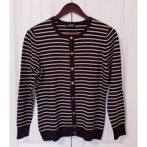 JONES NY Striped Cardigan Sweater (sz M, blk & wh)
